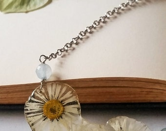 Daisy Romantic Botanical necklace with Blue Chalcedony