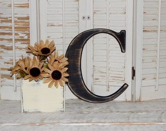 Wooden Letter C Distressed Wood letters Made To order U choose Letter & Color Photo Props