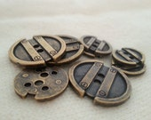 4 industrial steampunk borg brass tone metal vintage button - 20mm, 15mm and 12mm