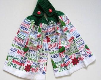 Naughty or Nice Crochet Top Kitchen Towel Set of 2