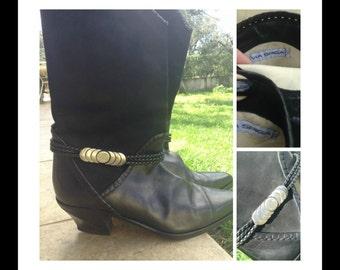 Gorgeous Via Spiga Black Leather and Suede Boots, original, European 39, U.S 8.5- U.K. 6.5, egst, Greece