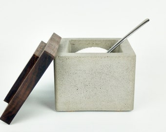 Concrete Salt Cellar / Salt Box / Salt Pinch Bowl / Salt Pig / Sugar Bowl with Black Walnut Lid / Sugar Dish / Chef Gift / Kitchen Gifts