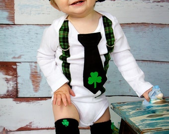 St. Patricks Day Baby Boys Black Tie Bodysuit with Green Plaid Suspenders, Lucky Charm, Patricks Day Photo Prop, Saint Patricks, Clover