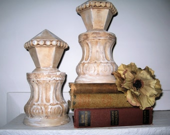 Architectural Distressed Decor/Architectural Columns with Finials/Distressed Finial Bookends/Distressed White Bookends