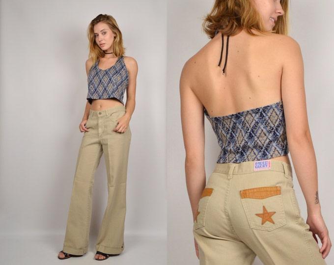70's Khaki Wide Leg Denim Pants vintage