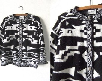 Southwestern Boxy Cropped Cardigan Sweater - Minimal 90s Tribal Pattern Slouchy Fit Blanket Knit Jumper - Womens Small