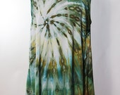 Size XL Asymmetric Tank Tunic, Rayon, Ice Dyed Tie Dyed Greens And Gold,  READY To SHIP