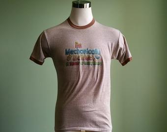 1980's Mechanically Inclined Novelty Tee - 80's Ringer T Shirt - Medium Retro Tee