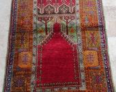 Vintage / 4 by 7 / Tree of Life / Prayer Rug / Turkish Oushak Rug / Rustic / Red-Green / Nomadic / Konya / Village Rug - 82 in x 49 in