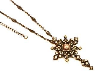 Aurora Borealis Pendant Necklace, Sparkling Rhinestones Cross, Copper Brooch Pendant, Chain Necklace, Christian Jewelry, Religious Necklace