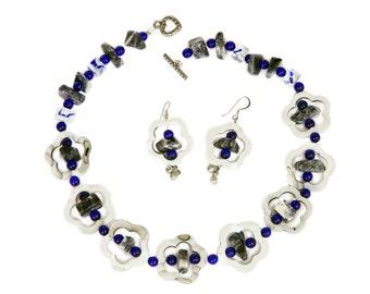Shell Jewelry Set, Dangle Earrings & Necklace, MOP Flowers Lapis Stones, Cobalt Blue Glass Beads, Beach Jewelry, Ocean Jewelry, Nautical