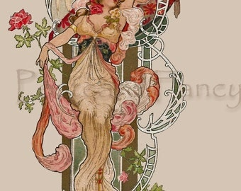 ART NOUVEAU Vintage TUCK Postcard of Beautiful Woman #1 Instant Digital Download