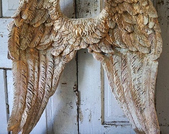 Ornate angel wings wall hanging sculpture white gold shabby cottage chic pink distressed cherub detailed wing set decor anita spero design