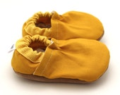 mustard yellow shoes, baby booties mustard yellow baby, yellow moccasins, soft sole shoes elastic baby booties vegan shoes, toddler slippers