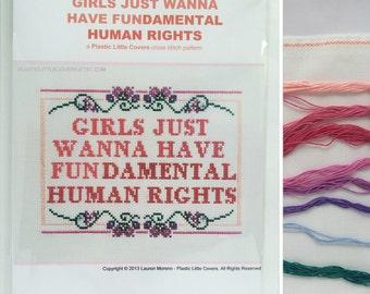 "Cross Stitch Kit ""Girls Just Wanna Have Fundamental Human Rights"". Modern feminist cross stitch. Counted cross stitch DIY kit."