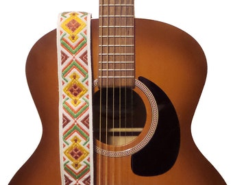 ON SALE - Guitar Strap - Vintage Bohemian Style Woven Ribbon on Organic Hemp Webbing- Acoustic, Electric and Bass Guitars