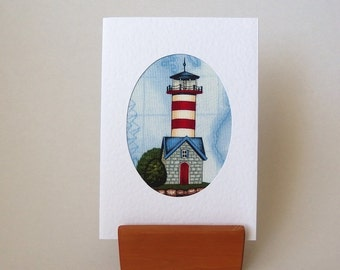 """LIGHTHOUSE Fabric Card. 6"""" x 4"""" with envelope.  Blank for any occasion. White textured greeting card. Nautical beach seaside card"""