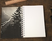 """Handmade Spiral Notebook Tartuensis College """"Black Woods"""" Upcycled from Old Book Covers"""