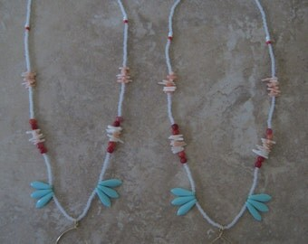 Exotic island orchid tropical paradise sea blue teardrop briolette red pink coral reef branch fringe bead Necklace