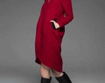 Wool coat, Red coat, Hooded coat, hooded Jacket, Modern jacket, coat, jackets, womens coats, womens jackets, wool coat, winter coat C755