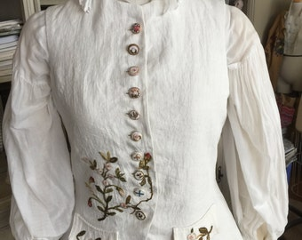 CUSTOM ORDERS 18th century Linen Waistcoat Hand Embroidery Outlander Historic Colonial Costume French Baroque Wedding Theater