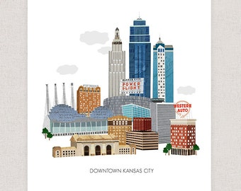 Kansas City Art Print - Collage Illustration Art Print Poster