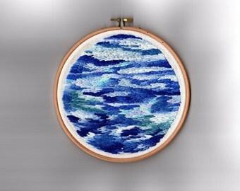 """Sea // Original Artwork // Hand Embroidery // 7"""" Hoop // Illustration"""