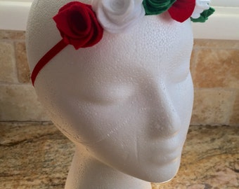 Green, White and Red Felt Flower Cinco De Mayo Crown, Baby Crown Headbands, Baby Girl Crown Headband, Infant Crown Headband, Women Headband