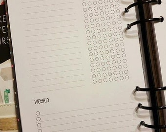 A5/Half letter daily and weekly tracker planner insert