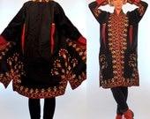 Vintage 70s Heavily Embroidered Turkish Kilim Folk Art Coat. Handmade Swing Jacket. OOAK avant garde floral boho Hippie Duster Small - large