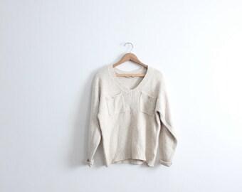 Minimal Ecru Pocket Sweater