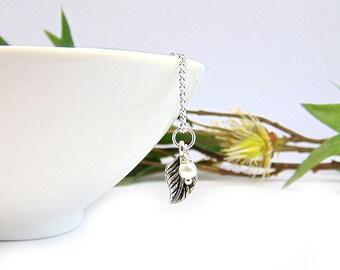 Leaf Necklace, Bridesmaid Necklace, Woodland Themed Wedding, Silver Leaf Charm,Leaf Pendant, Silver Leaf Necklace, Woodland Jewellery,