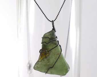 """SALE Olive Green and Brown Bonfire Sea Glass 20 Gauge Wire Wrapped with Sterling Silver on a Diamond Cut Bead Chain Necklace 16"""" or 18"""""""
