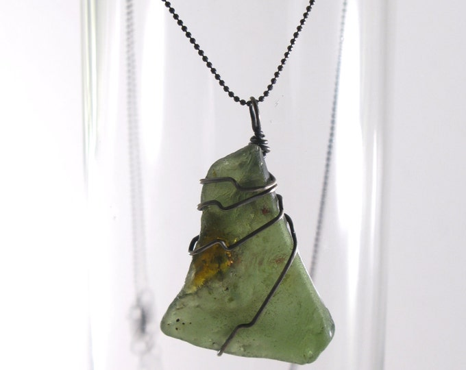"SALE Olive Green and Brown Bonfire Sea Glass 20 Gauge Wire Wrapped with Sterling Silver on a Diamond Cut Bead Chain Necklace 16"" or 18"""