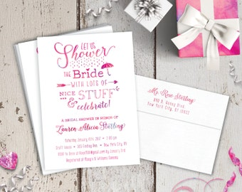 Modern Watercolor Bridal Shower Printed Invitations - Ombre Fun Pink Purple Turquoise - FREE CUSTOM COLORS - Printed Invites with Envelopes