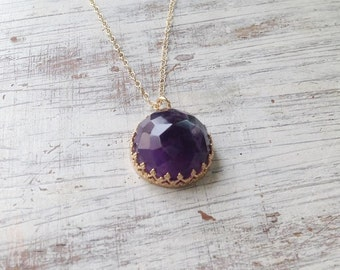 Stone necklace,Amethyst necklace,February birthstone,stone jewelry,Amethyst pendant,Amethyst,gift for her,layering necklace,amethyst jewelry