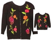 Vintage Black Sweater with Embroidered Flowers - Fits Size Small to Medium