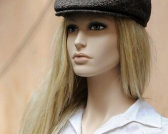Womens newsboy hat Brown hat Mens newsboy cap Flat cap Driving hat Brown tweed hat Cabbie hat Flat hat Scally cap Ivy cap Toddler girl hats