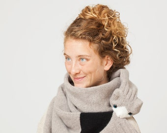Cat Stole - Cat Scarf with Grey and Black Colours - Animal Scarf - Animal Clothing - Gift for Cat Lovers