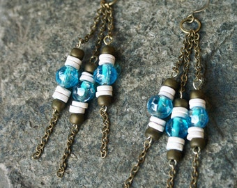 Aqua Glass beads shell heishi Brass Chain Earrings Beach Boho Chic Bohemian Surfer Girl rustic dangles dangle natural gift for her