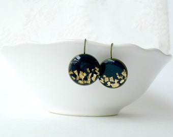 Navy blue and gold dangle earrings- Elegant round earrings- Dainty drop earrings