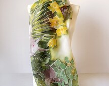 Rabbit Scarf - Bunny scarves - silk scarf Rabbits - easter scarf - spring scarf - flowers scarf - herbs scarf - green scarf