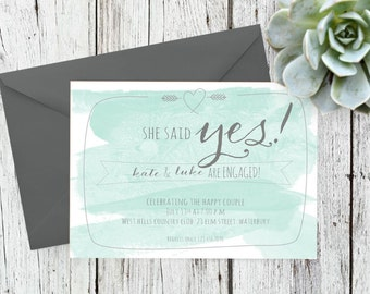 She Said Yes - Printable Engagement Invitation - Watercolor Invitation - Engagement Party - 5x7 Invitation