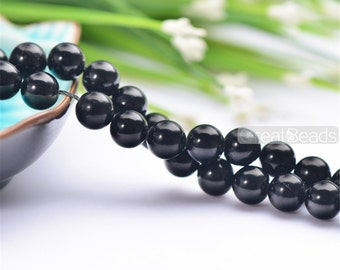 Grade AAA Natural Black Tourmaline Beads 4mm-14mm NOT Dyed Smooth Polished Round 15 Inch Strand TL28