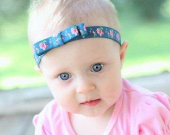 Baby Headband with Bow, Baby Bows, blue headband, floral headband, baby headband, baby girl headband, infant headband, toddler headband