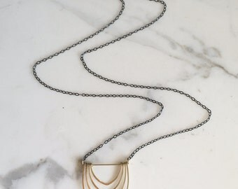 LONG CAlIDORA NECKLACE - Long Necklace with Gold Layered Arches - Long Oxidized Sterling Silver Chain Necklace with Geometric Arches