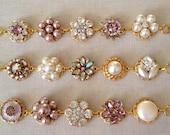 One Gold OR Silver, Mauve, pastel, vintage earring bracelet, cluster earring bracelet, purple, plum, vintage, jewelry, bridesmaid gift
