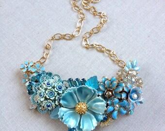 Vintage collage, necklace, light blue, vintage, rhinestone, enamel flower, floral, collage, teal, aqua, turquoise, wedding, jewelry, vintage