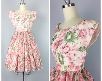 50s Pink Floral Print Dress - 1950s Vintage Chiffon Party Dress - Small - Size 4