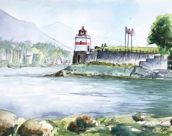 Lighthouse at Stanley Park, Vancouver, Watercolors paintings original, Canadian Watercolor Painting Original, Canada painting, Canada
